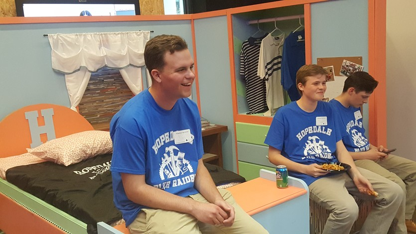 Hopedale HS made a mock bedroom to teach those with special needs how to make their bed, fold their clothes etc