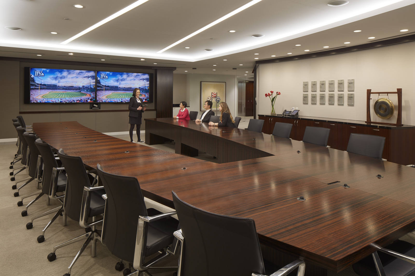 Unique custom boardroom table designed by BH+A steps out of the traditional and into a more collaborative boardroom.
