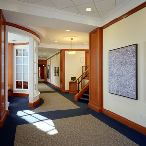 A beautiful curved wall enhances this space. The quality and craftsmanship we put in our trim and wall panels will stand the test of time at Harvard.