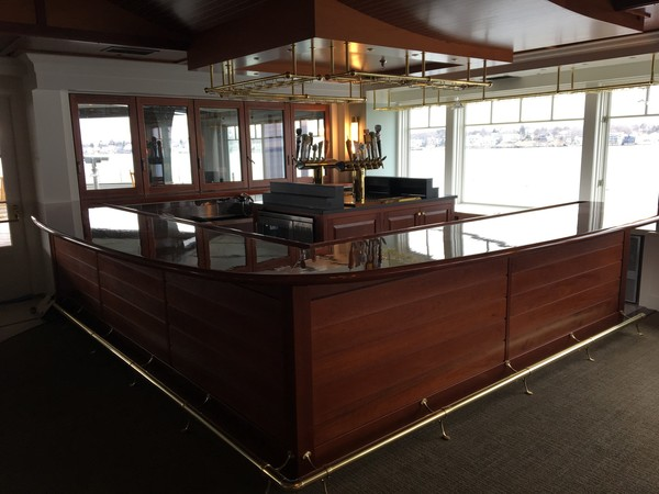 Another view of this custom mahogany bar and ceiling