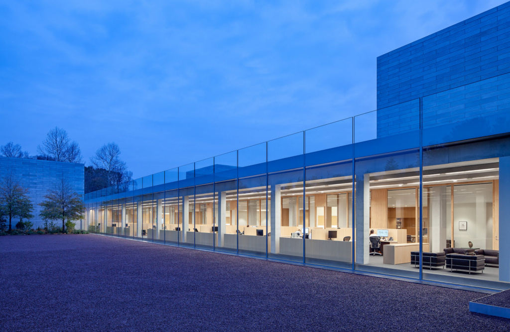 Glenstone in the evening. MRW provided the millwork for the Foundation Offices.