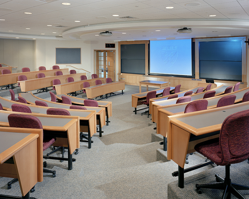 These lecture tables were built to withstand heavy use while still maintaining their custom look.