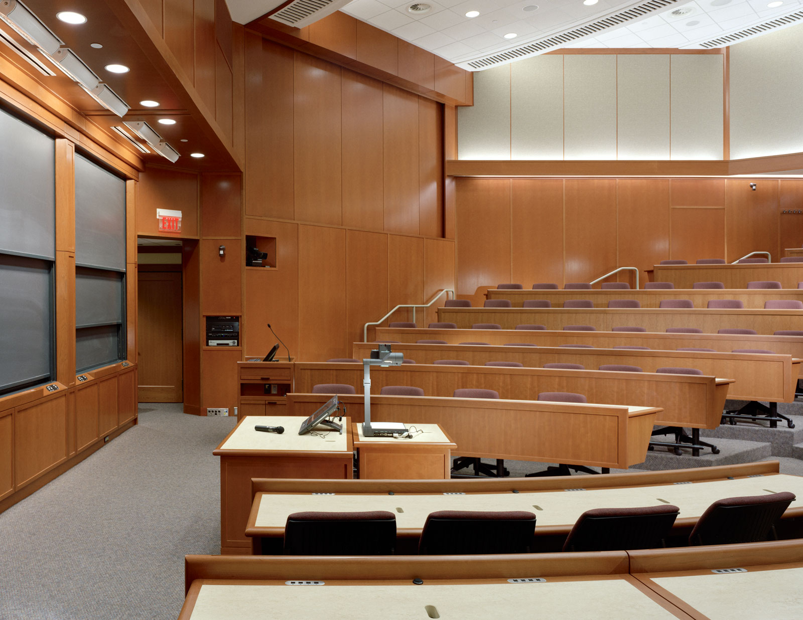 A lecture hall at Aldrich Hall. MRW built the permanent tables for the hall.