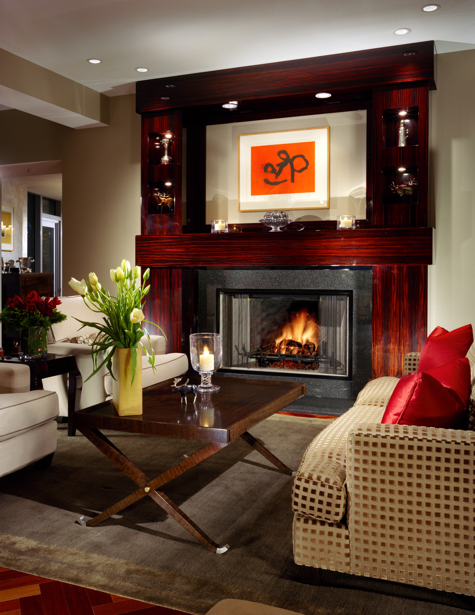 This beautiful custom mantel highlights this contemporary home